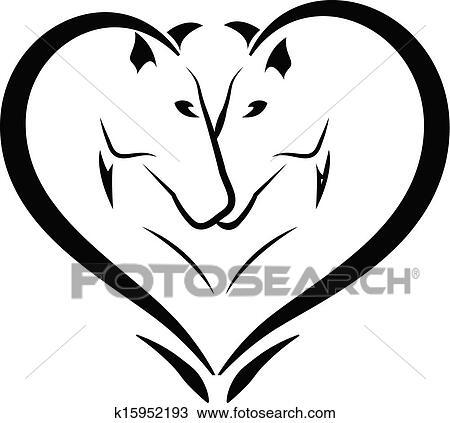 Clipart Stilizzato Cavalli Amore Logotipo K15952193 Cerca