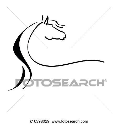 Stilizzato disegno di uno cavallo clip art k16398029 for Disegno cavallo stilizzato