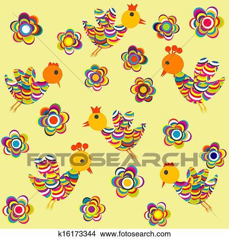 Stilizzato Uccelli E Fiori Fondo Per Bambini Disegni K16173344