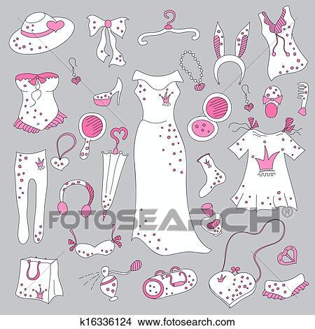 bea3c6464356b Stylish hand drawn set of women fashion items Clipart   k16336124 ...