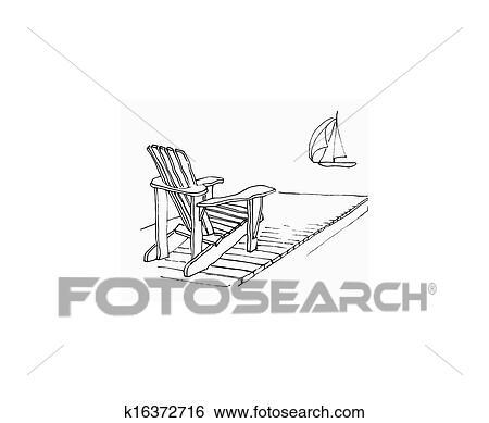 Summer Dock Stock Illustration   k16372716   Fotosearch