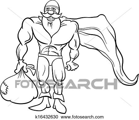 black and white cartoon illustration of funny superhero or hero santa claus character with sack full of christmas presents for coloring book
