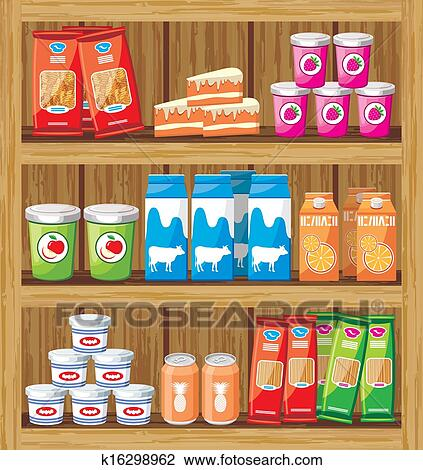 Supermarket Shelfs With Food Clipart K16298962 Fotosearch