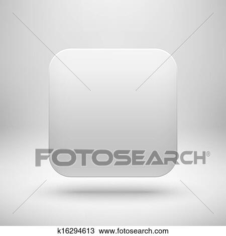 Clipart of Technology White Blank App Icon Template k16294613 ...