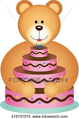 Strange Teddy Bear Hugging Birthday Cake Clipart K15731074 Fotosearch Funny Birthday Cards Online Drosicarndamsfinfo