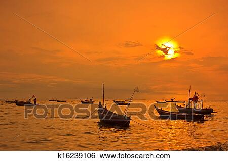 Stock Image Thai Boats At Sunset Beach Thailand Fotosearch Search Photography
