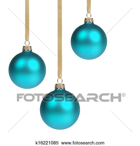 stock image three blue christmas balls hanging on ribbon fotosearch search stock photos - Blue Christmas Balls