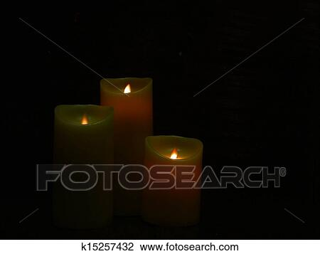 Clip Art Of Three Candles In A Dark Room K15257432 Search Clipart