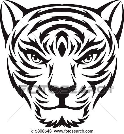 clipart of tiger face tattoo vintage engraving k15808543 search rh fotosearch com tiger cub face clipart tiger face clipart images