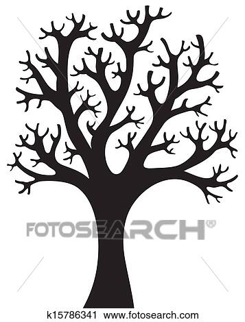 Clipart Of Tree Shaped Silhouette 4 K15786341