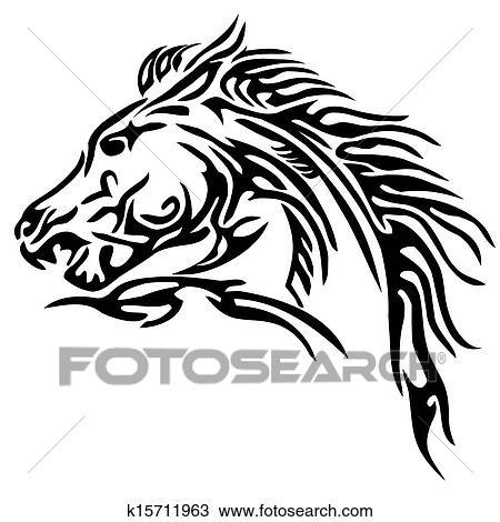 a34ecf2ea7f Tribal horse tattoo Clipart | k15711963 | Fotosearch