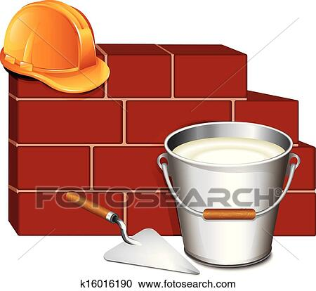 Clipart Of Trowel And Brick Wall Building Icon K16016190