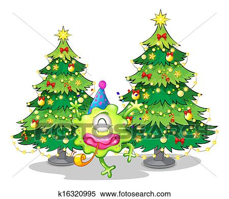 Tall Christmas Tree Clipart.Two Tall Christmas Trees At The Back Of A Happy Green Monster Clipart