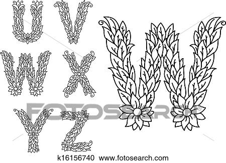 U V W X Y And Z Floral Letters Clipart