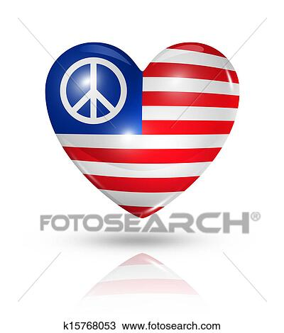 Drawing Of Usa Peace Love Symbol Heart Flag Icon K15768053 Search