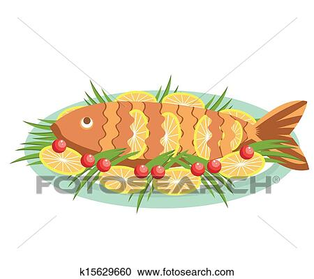 Vector Cooked Fish With Lemons Vector Food Isolated On