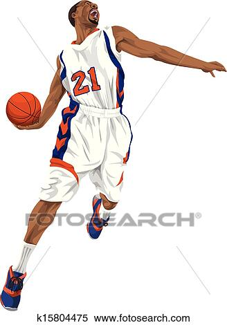 Vector of basketball player going for a slam dunk  Clipart