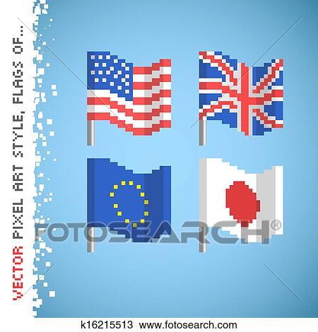 Vector Pixel Art Style Color Flag Set Clipart K16215513 Fotosearch
