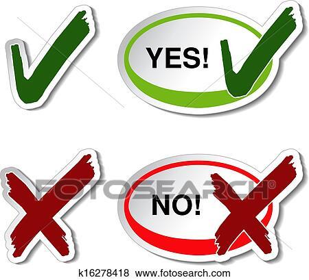 Clip Art Of Vector Yes No Button Check Mark Symbol K16278418