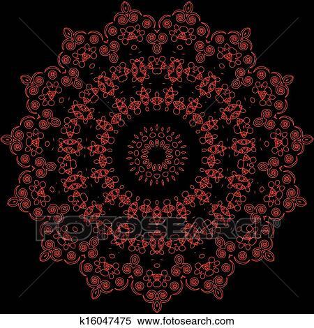 Vendemmia Fiore Rosso Mosaico Su Sfondo Nero Clipart K16047475