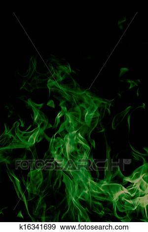 Verde Fuoco Su Sfondo Nero Archivio Fotografico K16341699