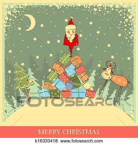 Clip Art Of Vintage Christmas Background With Santa On Old Card