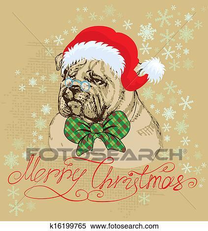 7804242b9dd6f Clipart - Vintage Christmas card - bulldog wearing Santa Claus hat - hand  drawn illustration.