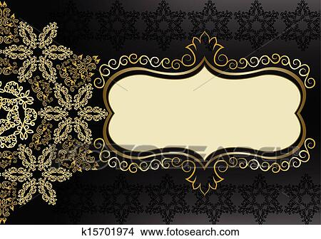 Clipart Of Vintage Gold Frame On A Black Background K15701974