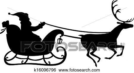 Clip Art Weihnachtsmann Auf A Rentier Schlitten K16096796