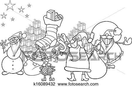 Clipart - weihnachtsmann, karikatur, färbung, seite k16089432 ...