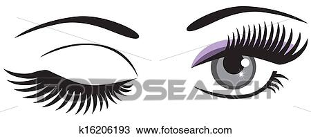 clipart of winking k16206193 search clip art illustration murals rh fotosearch com animated winking eye clip art