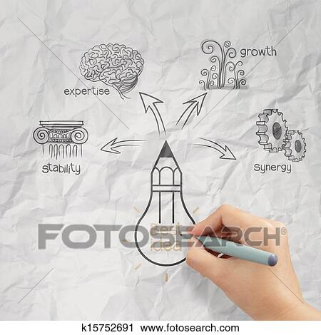 Clipart Of Woman Hand Draw The Big Idea Diagram On Crumpled Paper