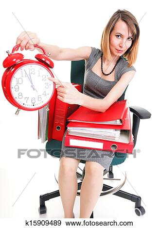 Woman Overworked Businesswoman Holding Plenty Of Documents Isolated White Red Folder Timeer Time Stock Photo