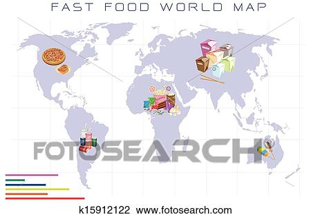 Clipart of world map with fast food and take away food k15912122 clipart world map with fast food and take away food fotosearch search clip gumiabroncs Choice Image