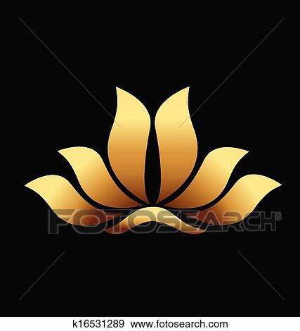 Yoga Gold Lotus Flower Logo Clip Art K16531289 Fotosearch