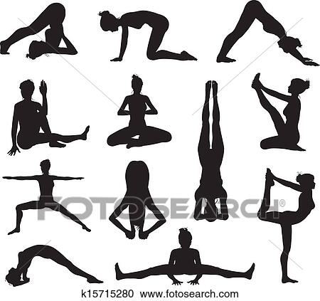 A Set Of Highly Detailed High Quality Yoga Or Pilates Pose Silhouettes