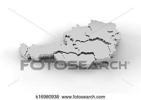 3d Karte Osterreich.Osterreichkarte 3d Silber Mit Staaten Stock Illustration