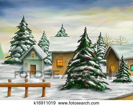 クリスマス 風景 イラスト K16911019 Fotosearch
