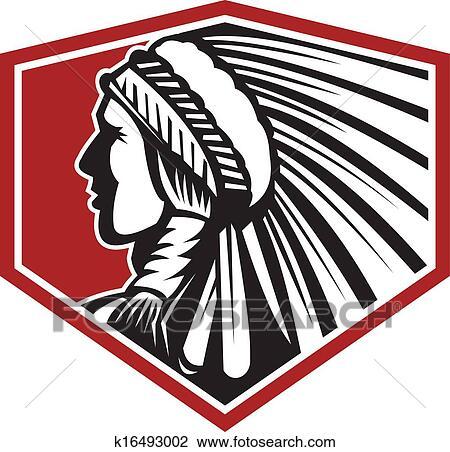 ネイティブアメリカン Indian 戦士 側 レトロ クリップアート切り