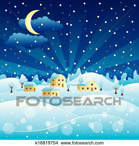 冬 田園 景色 で クリスマス 積雪量 クリップアート切り張り