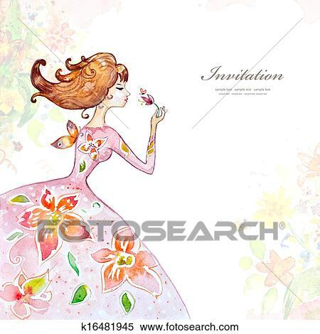 女の子 中に 花 水彩画 イラスト K16481945 Fotosearch