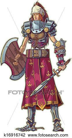 戦士 女 で 赤い髪 ベクトル クリップアート切り張り