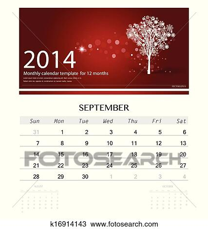 Clipart Of 2014 Calendar Monthly Calendar Template For September
