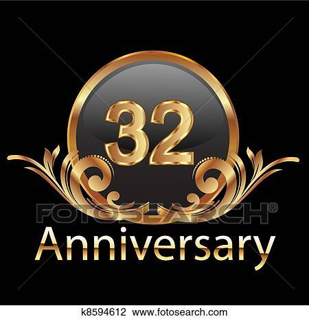 Anniversario Matrimonio 32 Anni.32 Anniversary Happy Birthday Clipart K8594612 Fotosearch