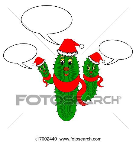 Christmas Cactus Clipart.A Funny Christmas Cactus With Speech Bubbles Clipart