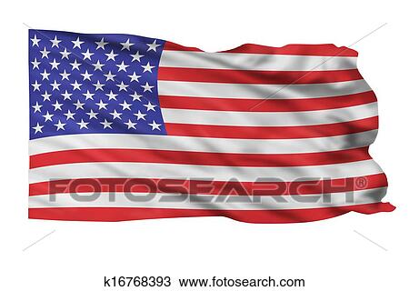 Drawing Of American Flag K16768393 Search Clipart Illustration