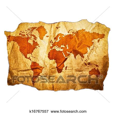 Picture Of Antique World Map With Beautiful Grunge Details Isolated