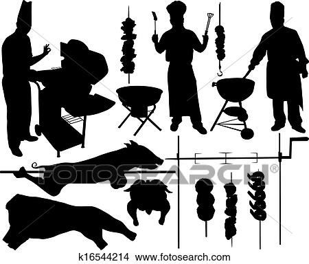 Clipart Of Barbecue Vector Silhouettes K16544214