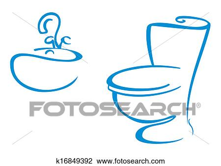 Clipart - Bathroom symbols. Fotosearch - Search Clip Art, Illustration Murals, Drawings and