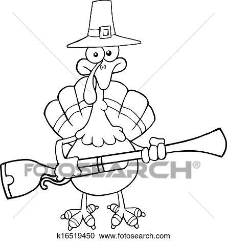 Black And White Pilgrim Turkey Bird Clipart K16519450